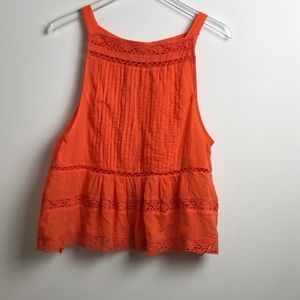 Free People Orange Boho Tank Top M